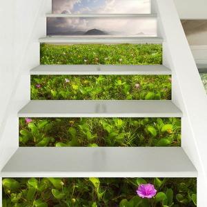 3D 階段ステッカー トリックアート 草原 フリーン 田園 6ピース ウォールステッカー バリ風 インテリア DIY|peachy