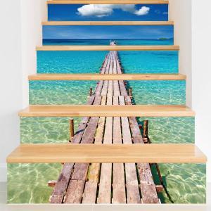 3D 階段ステッカー トリックアート 海へと続く桟橋 6ピース リゾート ウォールステッカー 北欧風 インテリア DIY|peachy