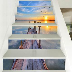 3D 階段ステッカー トリックアート 夕日 海へと続く桟橋 6ピース リゾート ウォールステッカー だまし絵 北欧風 インテリア DIY|peachy