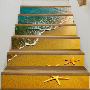 3D 階段ステッカー トリックアート うち際の波 ヒトデ 6ピース リゾート ウォールステッカー 北欧風 インテリア DIY|peachy