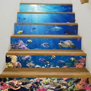 3D 階段ステッカー トリックアート 海底 熱帯魚 深海 6ピース ウォールステッカー 南国 インテリア DIY|peachy
