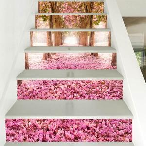 3D 階段ステッカー トリックアート 桜 サクラ並木 ピンク 幻想的 桃の花 6ピース ウォールステッカー インテリア DIY|peachy