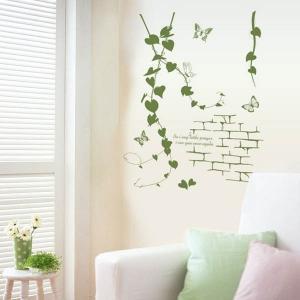 ウォールステッカー ツタとレンガ ボタニカル 壁デコ 北欧風 DIY 縁起 リビング 寝室|peachy