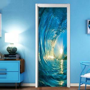 ドアステッカー トリックアート サーフィン 波 だまし絵シール ビッグウェーブ 海 ハワイ インテリア DIY|peachy