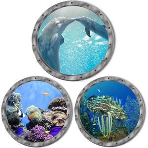 ウォールステッカー 潜水艦窓 イルカ 海底 熱帯魚 アートステッカー インテリアシール 潜水艦 DIY 剥がせる|peachy