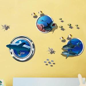 ウォールステッカー サメ 潜水艦窓 魚群 海 熱帯魚 壁デコ 北欧風 DIY リビング 寝室|peachy