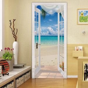 ドアステッカー トリックアート 海辺 ビーチ 白いカーテン だまし絵シール 隠し部屋 部屋の壁紙 インテリア DIY|peachy