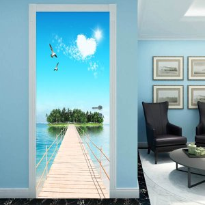 ドアステッカー トリックアート 島へ続く桟橋 海 南国 リゾート だまし絵シール 木製 本棚柄壁紙 インテリア DIY|peachy