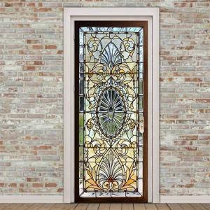 ドアステッカー トリックアート ステンドグラス すりガラス アンティーク だまし絵シール 隠し部屋 部屋の壁紙 インテリア DIY|peachy