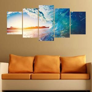 ウォールステッカー 1セット5枚 サーフィン ハワイ ビッグウェーブ パネルアート風 絵画 写真 壁デコ DIY リビング 寝室|peachy