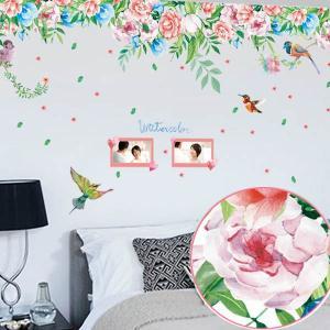 ウォールステッカー 水彩画タッチ 薔薇 ローズ 小鳥 アート インテリアシール 窓枠 壁デコレーション 北欧風 DIY リビング peachy