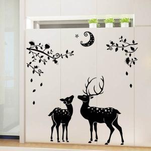 ウォールステッカー 影絵風 月夜と鹿 アート インテリアシール 窓枠 壁デコレーション 北欧風 DIY リビング peachy