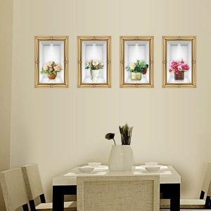 だまし絵ウォールステッカー 枠縁付き 花 展示ケース入り トリックアート 壁デコ 北欧風 DIY リビング 寝室