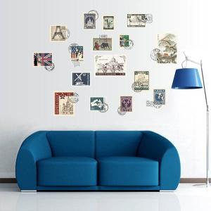 ウォールステッカー 世界の切手 スタンプ 消印入り ステッカー インテリアシール 壁デコレーション 北欧風 DIY リビング|peachy