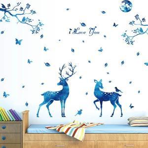 ウォールステッカー 幻想的な青 鹿 森 アート メルヘン インテリア 壁デコ 北欧風 DIY リビング peachy
