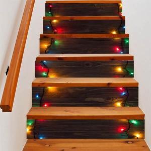 3D 階段ステッカー トリックアート イルミネーション クリスマスライト 6ピース ウォールステッカー バリ風 インテリア DIY|peachy