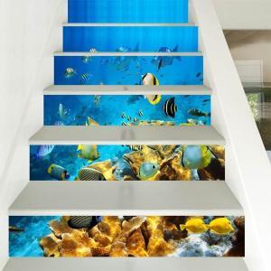 3D 階段ステッカー トリックアート エンゼルフィッシュ 海底 熱帯魚 6ピース ウォールステッカー バリ風 インテリア DIY|peachy