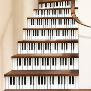 3D 階段ステッカー トリックアート ピアノ 鍵盤 モノクロ ウォールステッカー 北欧風 インテリア DIY|peachy