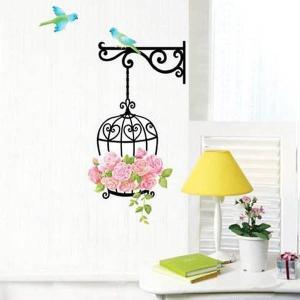 ウォールステッカー 鳥かごと薔薇 メルヘン  壁デコ 北欧風 DIY リビング 寝室 子ども部屋 peachy