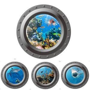 ウォールステッカー 潜水艦の窓 サメ 魚群 シンプル1枚 アートステッカー インテリアシール 壁デコレーション 北欧風 DIY 剥がせる|peachy