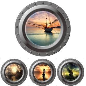 ウォールステッカー 船 潜水艦の窓 海賊船 夕日 シンプル1枚 インテリアシール 壁デコレーション 北欧風 DIY 剥がせる|peachy