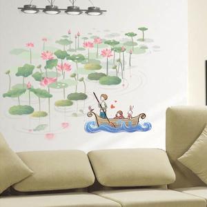 ウォールステッカー 幻想カラー 蓮 船 アート インテリアシール 窓枠 壁デコレーション 北欧風 DIY リビング peachy