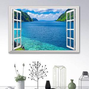 ウォールステッカー 海 入り江 だまし絵 アート インテリア 窓枠 壁デコ 北欧風 DIY リビング|peachy