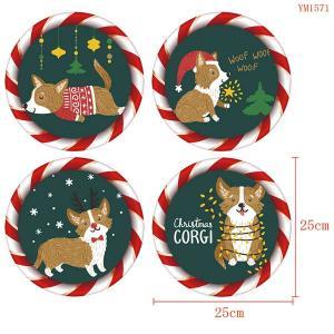 4枚セット ウォールステッカー 円形 クリスマス コーギー 犬 ツリー ふんわりイラスト アートステッカー インテリアシール 潜水艦 DIY 剥がせる|peachy