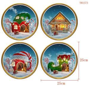 4枚セット ウォールステッカー 円形 クリスマス サンタハウス ふんわりイラスト アートステッカー インテリアシール 潜水艦 DIY 剥がせる|peachy
