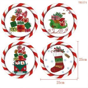4枚セット ウォールステッカー 円形 クリスマス プレゼント サンタのそり ふんわりイラスト アートステッカー インテリアシール 潜水艦 DIY 剥がせる|peachy
