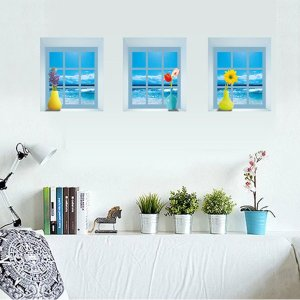 3枚1セット だまし絵ウォールステッカー 小窓 海 風景  トリックアート 壁デコ 北欧風 DIY リビング 寝室|peachy