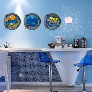 3枚1セット だまし絵ウォールステッカー 潜水艦窓 鮮やか 海の生き物  トリックアート 壁デコ 北欧風 DIY 剥がせる|peachy
