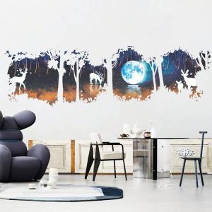 2枚1セット ウォールステッカー 幻想的月夜 森の湖畔 鹿 影絵風 壁デコ 北欧風 DIY 剥がせる peachy