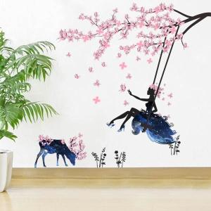 ウォールステッカー 幻想的 春の妖精 桜 だまし絵 アート インテリア 窓枠 壁デコ 北欧風 DIY リビング peachy