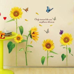 ウォールステッカー 夏の花 ひまわりと蝶 アート インテリアシール 壁デコレーション 北欧風 DIY リビング