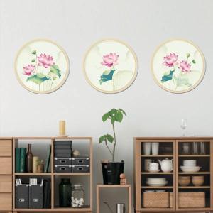 だまし絵 ウォールステッカー 円形窓 幻想カラー 蓮イラスト 壁デコレーション 北欧風 DIY 剥がせる|peachy
