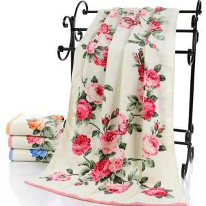 2点以上送料無料  エレガント ローズ 薔薇フェイスタオル  フローラル ふわふわ コットン 日用品 花柄 可愛い 女性用|peachy
