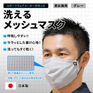 メッシュマスク【グレー】通気性がよくサラッと快適 。仕事・プライベートで大活躍(日本製) pearlizumi-original