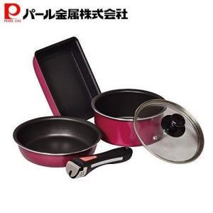 フライパン 鍋 5点 セット レッド IH対応 フッ素加工 クックウェア コンパクト クレア HB-...