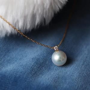 品名 K18 アコヤ真珠 DIA ネックレス   真珠 アコヤ真珠   真珠のサイズ 7.5-8mm...
