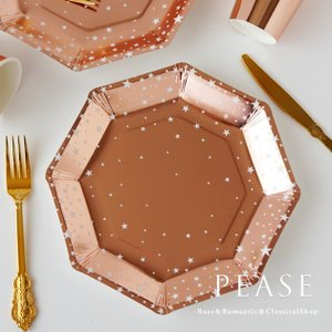 イギリスGingerRayブランドのおしゃれな紙皿8枚セットです ローズゴールドのエレガントなカラー...