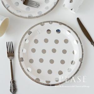 イギリスGingerRayブランドのおしゃれな紙皿8枚セットです シルバーでアウトラインとドットをカ...