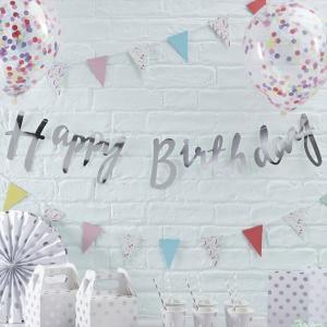 ハッピーバースデー 誕生日会 飾り クラフト 誕生日会 Happy Birthday GingerRay スクリプトバナー 明日つく|pease