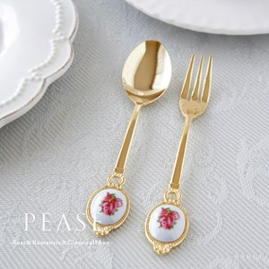 スプーン フォーク ケーキフォーク 薔薇雑貨 姫系雑貨 セーラーローズコーヒースプーン ヒメフォーク2 明日つく pease