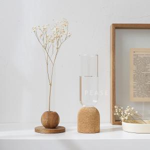 【倉庫出荷】フラワーベース 一輪挿し 天然木/コルク ガラス   花瓶 ナチュラル インテリア