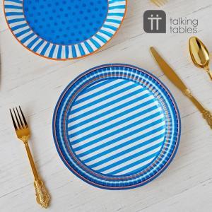 Talking Tables 紙皿 8枚セット ブルー ペーパープレート 使い捨て トーキングテーブル 明日つく|pease