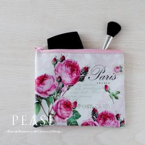 小物入れ ポーチ レディース おしゃれ ファスナー 薔薇雑貨 パリスローズ バッグインポーチ 明日つく|pease