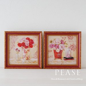薔薇のフラワープが描かれたおしゃれなミニゲルアートフレームです 絵の表面を特殊ゲル加工した油絵風の素...
