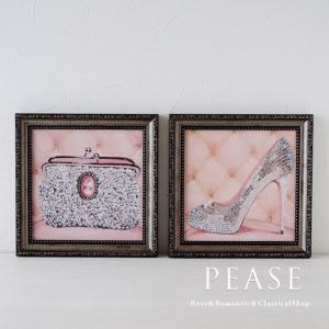 ハイヒールやバッグなどが描かれたおしゃれなミニゲルアートフレームです 絵の表面を特殊ゲル加工した油絵...