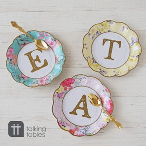 Talking Tables 紙皿 12枚セット 花柄 ペーパープレート 使い捨て トーキングテーブル 明日つく|pease